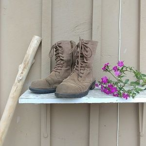 Brown Suede Combat Boots